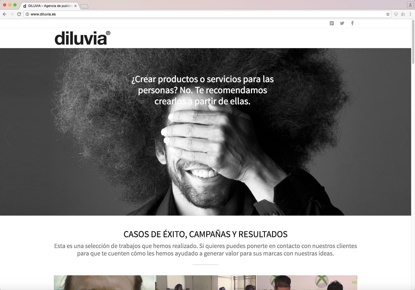 Pantalla página web de la agencia de publicidad Diluvia